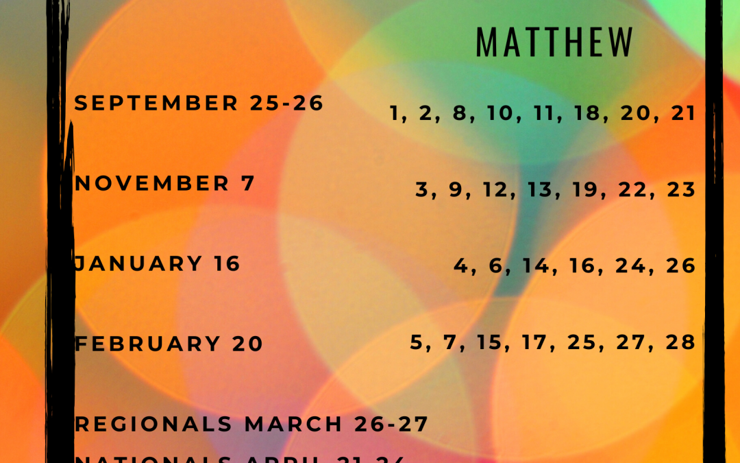 Bible Quizzing Schedule
